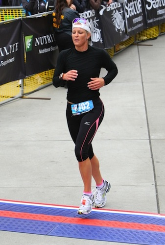 Michelle Marciniak finishes the Seattle Rock 'n' Roll Half Marathon, June 2010